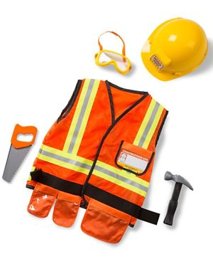Melissa & Doug Construction Worker Role Play Costume Set - Orange