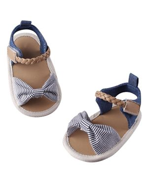 Hashqlo Big Bow Stripe Pre Walker Sandals - Blue